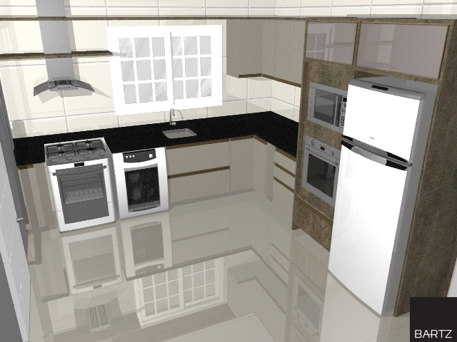 Cozinha planejada Bartz nas cores Coll e Chamois